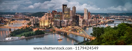 Pittsburgh city landscape panorama view over the Monongahela and Allegheny River