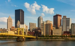 Pittsburgh downtown skyline by the river