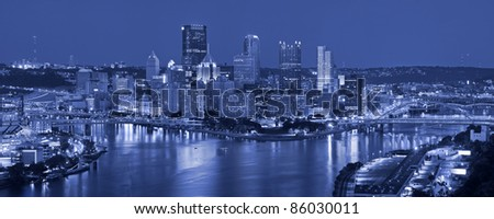 Pittsburgh. Panoramic image of Pittsburgh at night.
