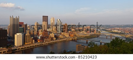 Pittsburgh. Panoramic image of Pittsburgh downtown skyline at sunset.