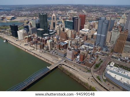 Pittsburgh, Pennsylvania downtown cityscape aerial.