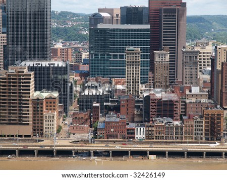 Pittsburgh Pennsylvania river front on a bright summer day.