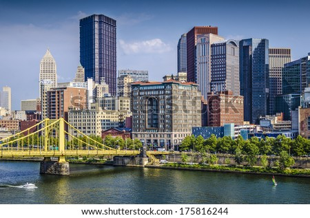 Pittsburgh, Pennsylvania, Usa Daytime Downtown Scene Over The Allegheny River.
