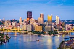 Pittsburgh, Pennsylvania, USA skyline at dusk.