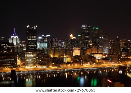 Pittsburgh's skyline from Mount Washington at night.