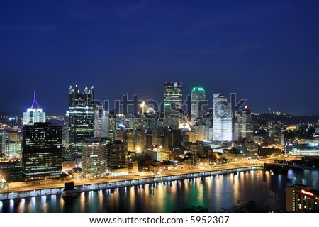 Pittsburgh's skyline from Mount Washington at night. - stock photo