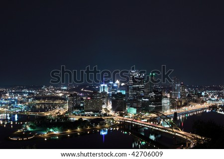 Pittsburgh skyline from Mount Washington at night
