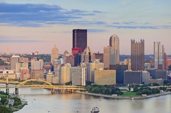 Pittsburgh Skyline. Image of Pittsburgh downtown skyline during summer sunset.