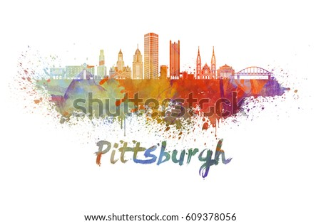 Pittsburgh V2 skyline in watercolor splatters with clipping path