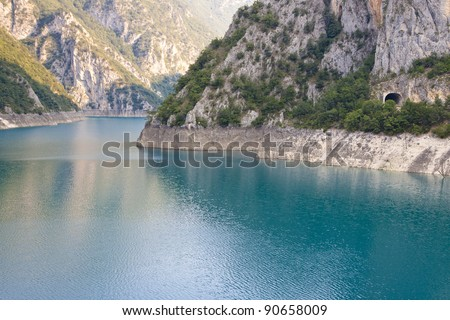 Piva big river in Montenegro, Durmitor national park.