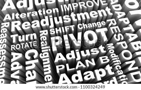 Pivot Change Turn Adjust Alter Course Words 3d Illustraion Photo stock ©