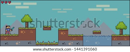 Pixel art game scene with ground, grass, trees, sky, clouds, male character, 2d 8bit 16bit