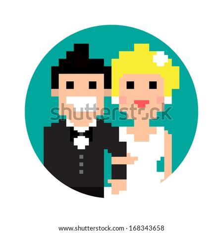 Pixel art wedding couple in circle isolated on white background