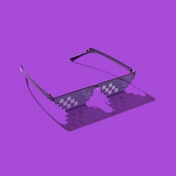 Pixel computer glasses on a purple background with hard shadows. Protection eyes from harmful artificial blue light emitted from computers screens, and TV.