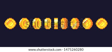 Pixel game coins animation. Golden pixelated coin animated frames, retro 16 bit pixels gold and video games money. Pixelated videogamer currency or videogame arcade gold illustration