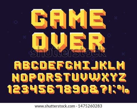 Pixel game font. Retro games text, 90s gaming alphabet and 8 bit computer graphic letters. Pixelated typeface letter, arcade game 8 bit pixel text and numbers retro symbols set