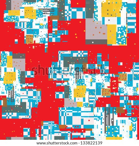 Stock Photo Pixel urban art pattern of a city map with a red background