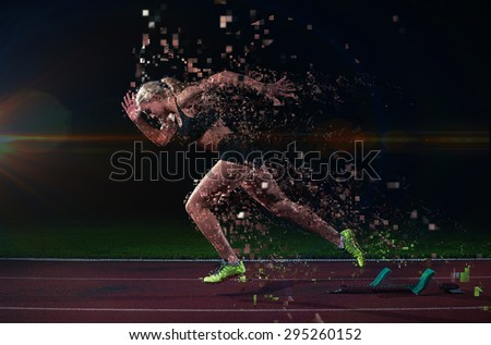 pixelated design of woman  sprinter leaving starting blocks on the athletic  track. Side view. exploding start #295260152