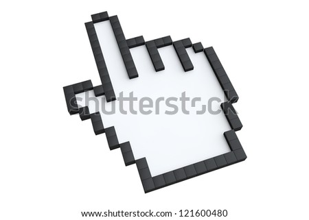 Pixelated hand pointer on a white background