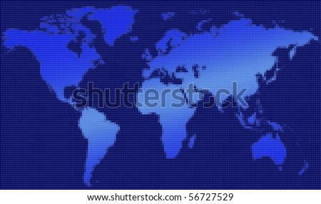 Pixelated map of the world