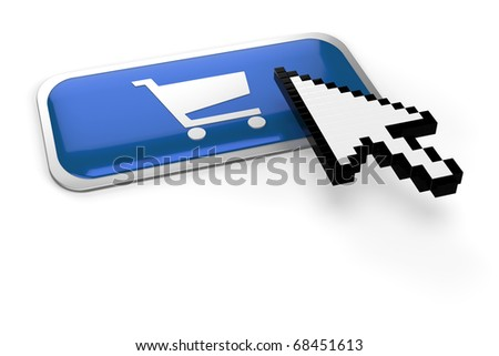 pixelated mouse  pointer on on shopping cart button