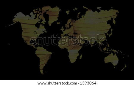 Pixelated world map, gold colors, over black