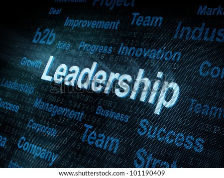 Pixeled word Leadership on digital screen 3d render