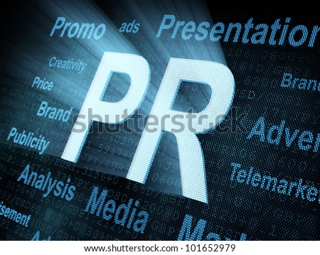 Pixeled word PR (public relations) on digital screen 3d render