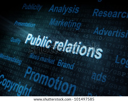 Pixeled word Public relations on digital screen 3d render