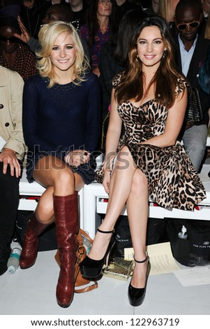 Pixie Lott and actress, Kelly Brook at the Mark Fast catwalk show as part of London Fashion Week SS13, Somerset House, London. 17/09/2012 Picture by: Steve Vas