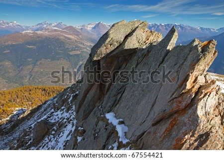 Piz-Tri Peak at 2308 meters on the sea-level. Brixia province, Lombardy region, Italy