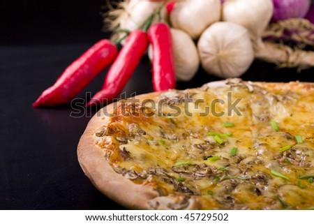 Pizza and dried decoration. Shot in studio. - stock photo