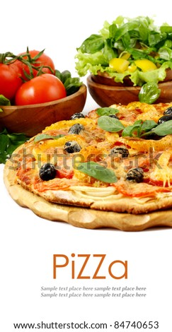 Pizza and fresh vegetables isolated on white