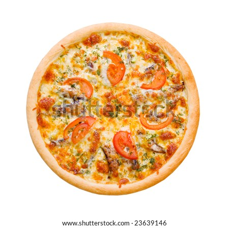 Pizza and italian kitchen. Studio. ,Close-up.sprats.solated on white background. clipping Path - stock photo