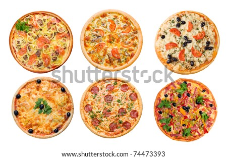 Pizza and italian kitchen. Studio. Isolated on white background.