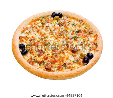 Pizza and italian kitchen. Studio. Isolated on white background. clipping Path