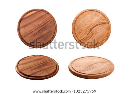 Pizza board isolated on white background. Top view mock up Stock foto ©