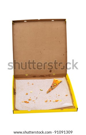 pizza box with  one pizza slice