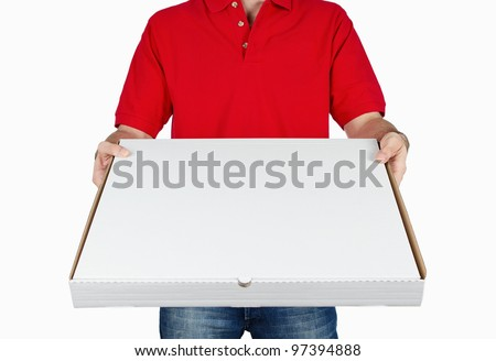 Pizza boy delivering pizza isolated on white background with copy space