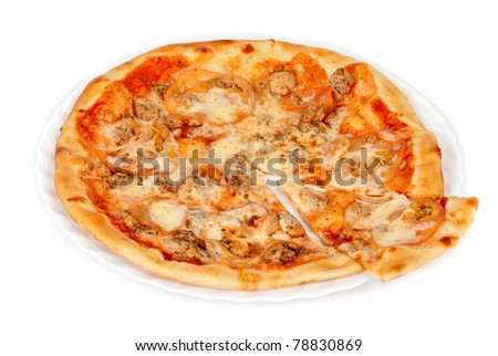 pizza closeup with chicken fillet, tomato and mozzarella cheese - stock photo