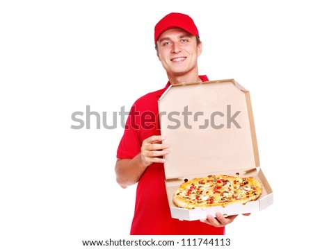 Pizza courier holding the box with pizza on white background