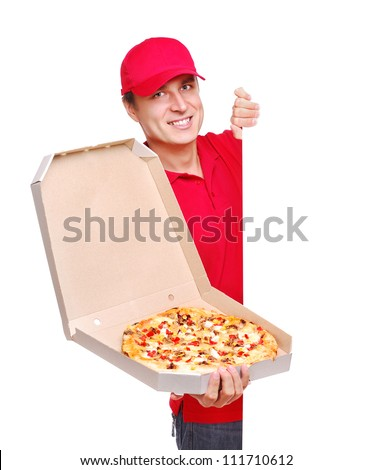 Pizza delivery courier in red uniform  holding the blank board