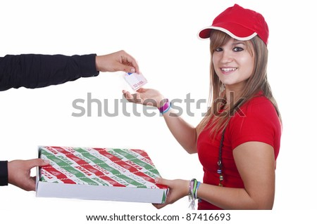 pizza delivery girl on white background
