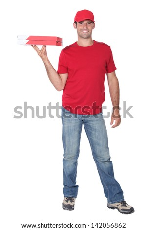 pizza delivery man stock photo 142056862 shutterstock. Black Bedroom Furniture Sets. Home Design Ideas