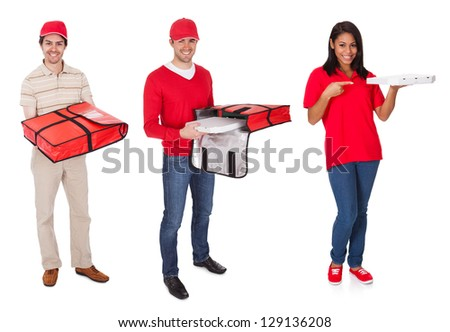 Pizza delivery people. Isolated on white background
