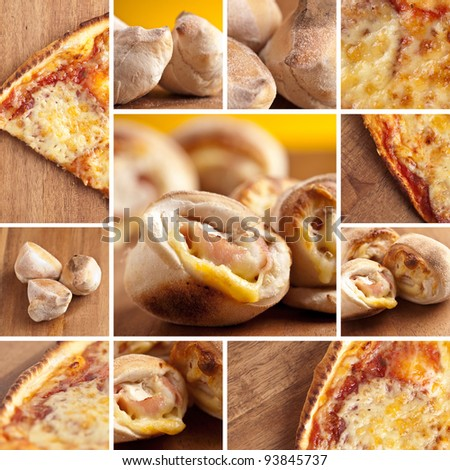 pizza fast-food collage - stock photo