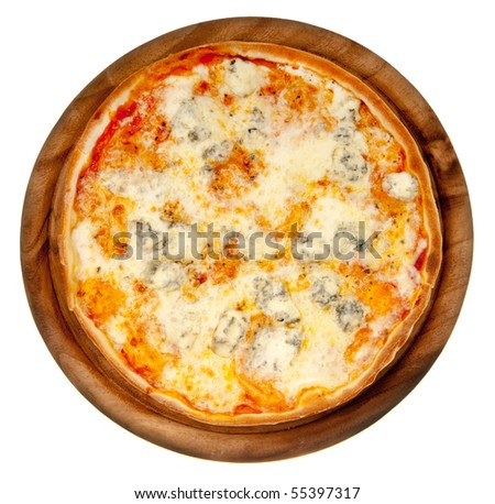 Pizza four cheese on a wooden platter