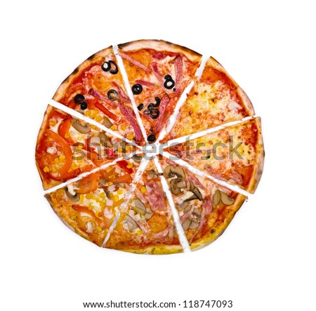 "Pizza ""four seasons"" cut isolated over white background"