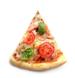 Pizza. Fresh Italian margherita with salami, basil and tomato isolated on white background. Top view