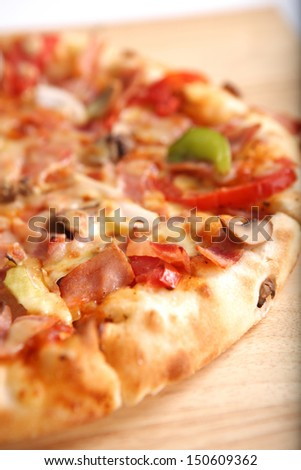 Pizza ham and mushroom isolated in white background